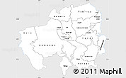 Silver Style Simple Map of Northern, single color outside