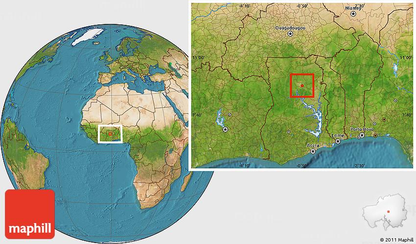 Satellite Location Map of Tamale