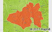 Political Map of Yendi, physical outside