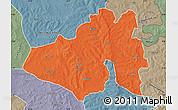 Political Map of Yendi, semi-desaturated
