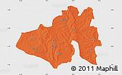 Political Map of Yendi, single color outside