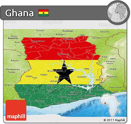 Free Flag Panoramic Map of Ghana physical outside bathymetry sea
