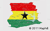 Flag Panoramic Map of Ghana