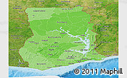 Political Shades Panoramic Map of Ghana, satellite outside, bathymetry sea