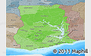 Political Shades Panoramic Map of Ghana, semi-desaturated, land only