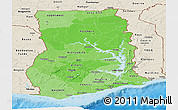 Political Shades Panoramic Map of Ghana, shaded relief outside, bathymetry sea