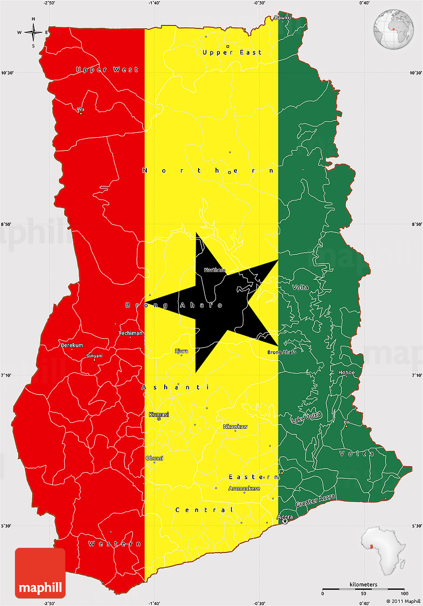 Flag Simple Map Of Ghana Flag Aligned To The Middle - Map of ghana
