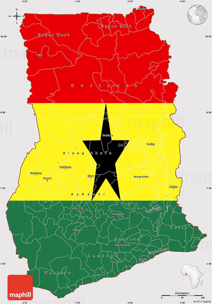 Flag Simple Map of Ghana