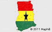 Flag Simple Map of Ghana