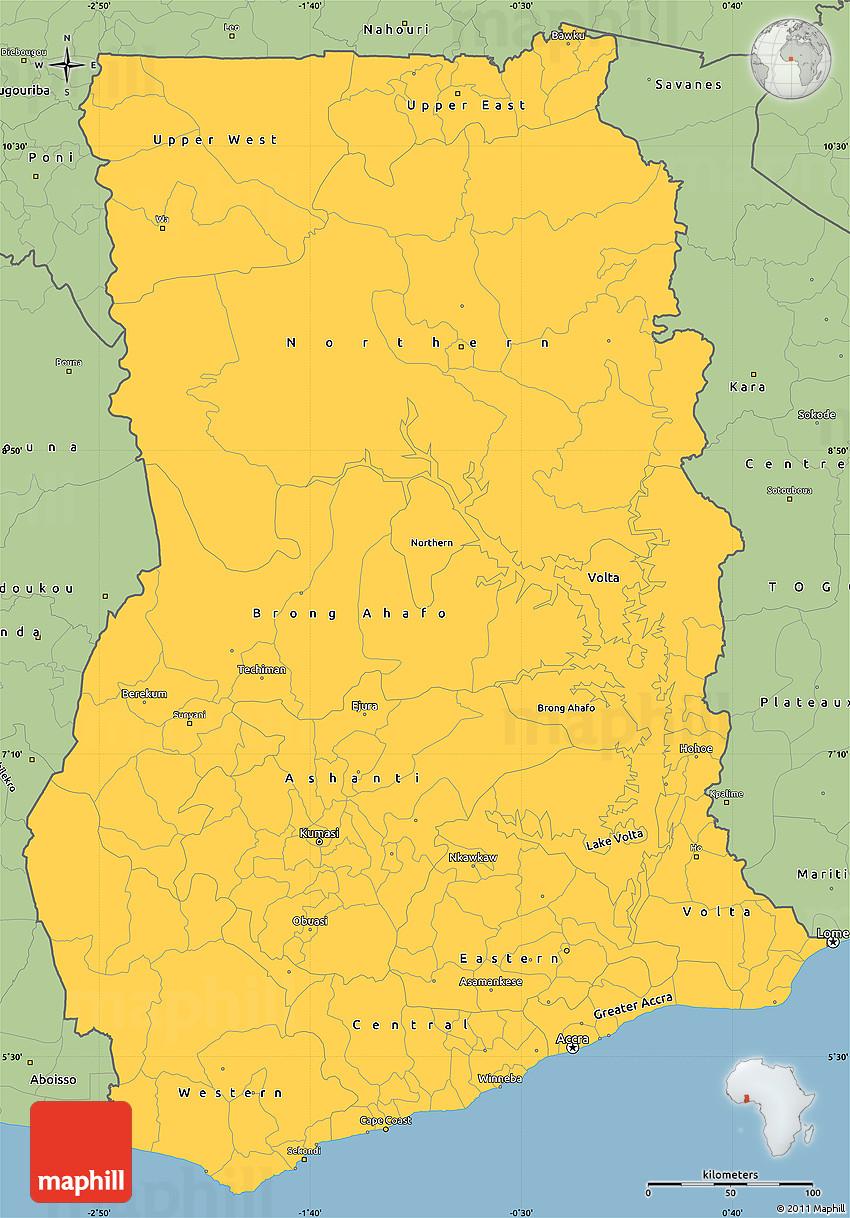 Savanna Style Simple Map of Ghana