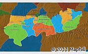 Political 3D Map of Upper East, darken