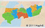 Political 3D Map of Upper East, lighten