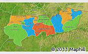 Political 3D Map of Upper East, satellite outside