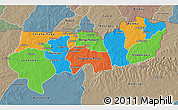 Political 3D Map of Upper East, semi-desaturated