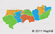 Political 3D Map of Upper East, single color outside
