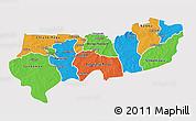 Political 3D Map of Upper East, single color outside