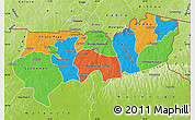 Political Map of Upper East, physical outside