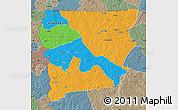 Political Map of Upper West, semi-desaturated
