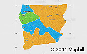 Political Map of Upper West, single color outside