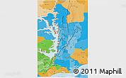 Political Shades 3D Map of Volta
