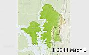 Physical Map of Kete-Krachi, lighten
