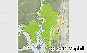 Physical Map of Kete-Krachi, semi-desaturated