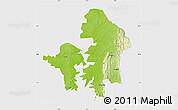 Physical Map of Kete-Krachi, single color outside