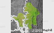 Satellite Map of Kete-Krachi, desaturated