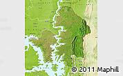 Satellite Map of Kete-Krachi, physical outside