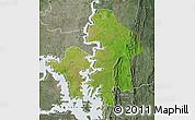 Satellite Map of Kete-Krachi, semi-desaturated