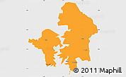 Political Simple Map of Kete-Krachi, single color outside