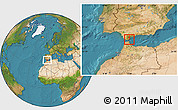 Satellite Location Map of Gibraltar