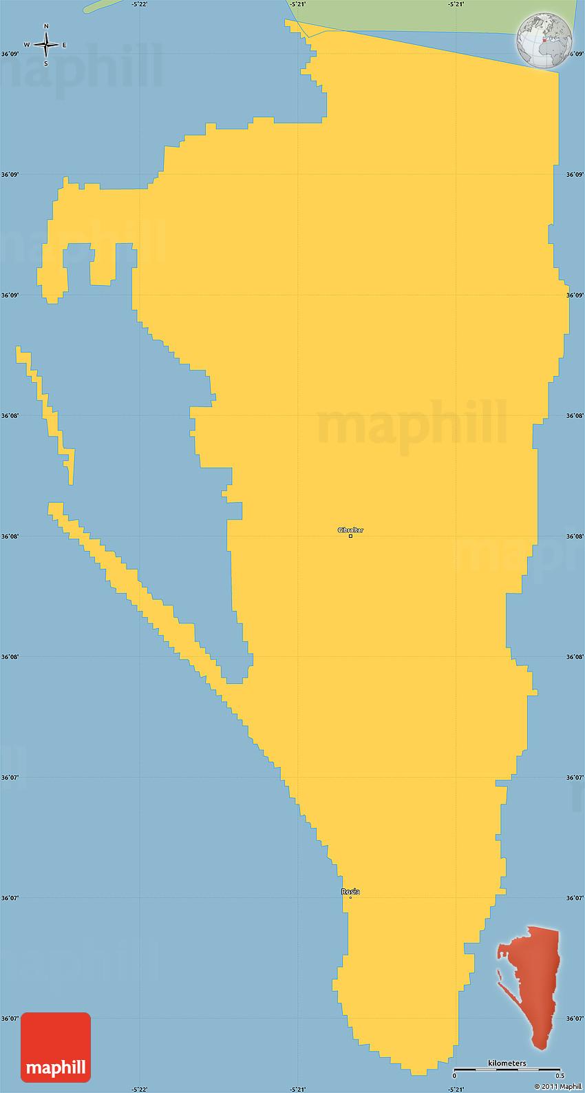 Savanna Style Simple Map of Gibraltar