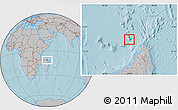 Satellite Location Map of Glorioso Islands, gray outside, hill shading