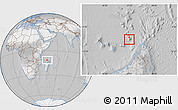 Satellite Location Map of Glorioso Islands, lighten, desaturated