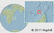 Satellite Location Map of Glorioso Islands, savanna style outside, hill shading