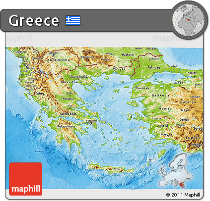 Free Physical 3D Map of Greece