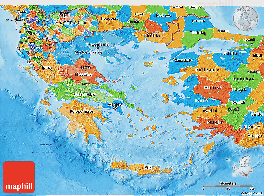 Political D Map Of Greece - Political map of greece