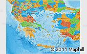 Political 3D Map of Greece