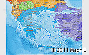Political Shades 3D Map of Greece