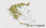 Satellite 3D Map of Greece, cropped outside
