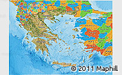Satellite 3D Map of Greece, political outside