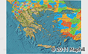 Satellite 3D Map of Greece, political outside, satellite sea