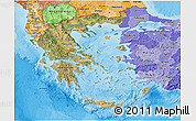 Satellite 3D Map of Greece, political shades outside