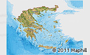 Satellite 3D Map of Greece, single color outside, bathymetry sea, shaded relief sea