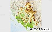 Physical 3D Map of Ipiros, lighten