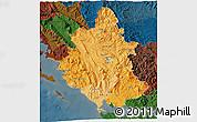 Political Shades 3D Map of Ipiros, darken