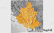 Political Shades 3D Map of Ipiros, desaturated