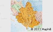 Political Shades 3D Map of Ipiros, lighten