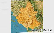 Political Shades 3D Map of Ipiros, satellite outside
